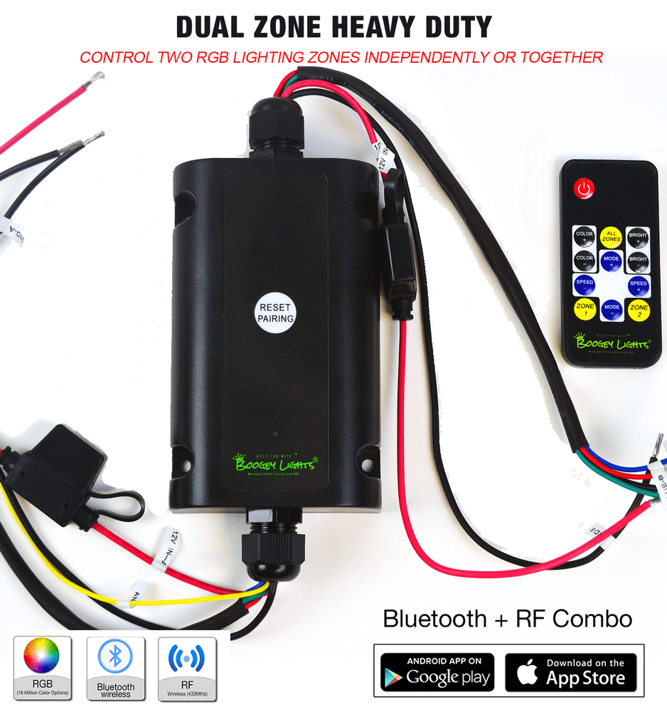 Dual Zone Heavy Duty Combo Bluetooth + RF Wireless LED Controller