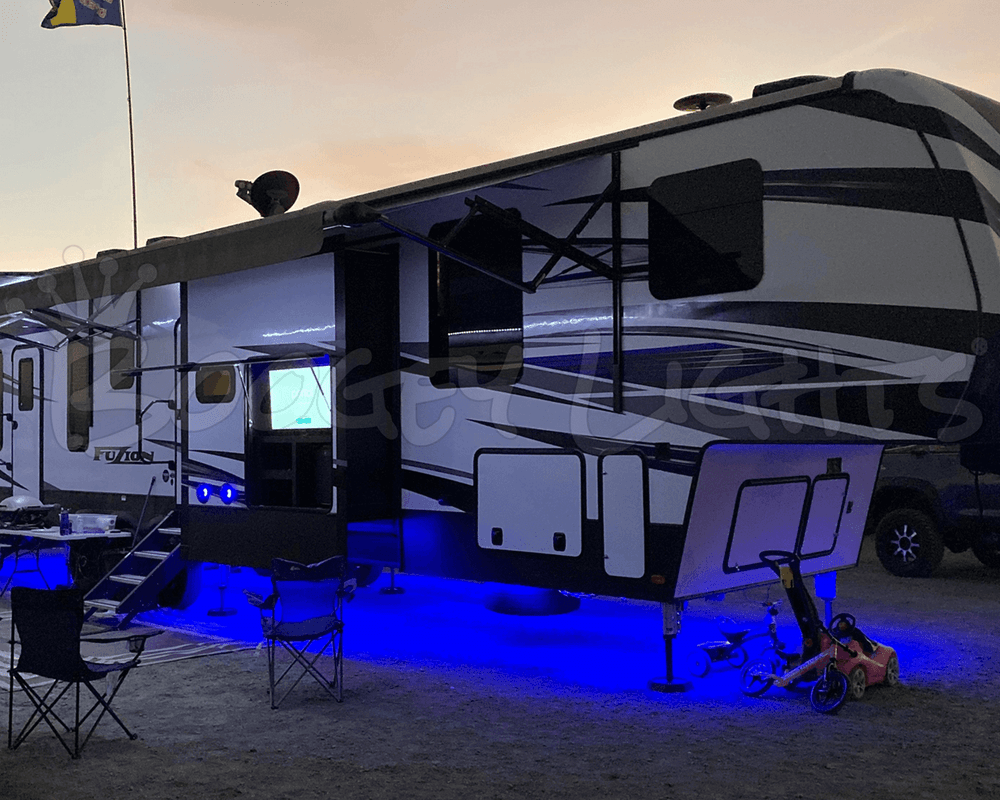 Our Full-Perimeter Under-Glow kit on a Fifth Wheel Trailer.