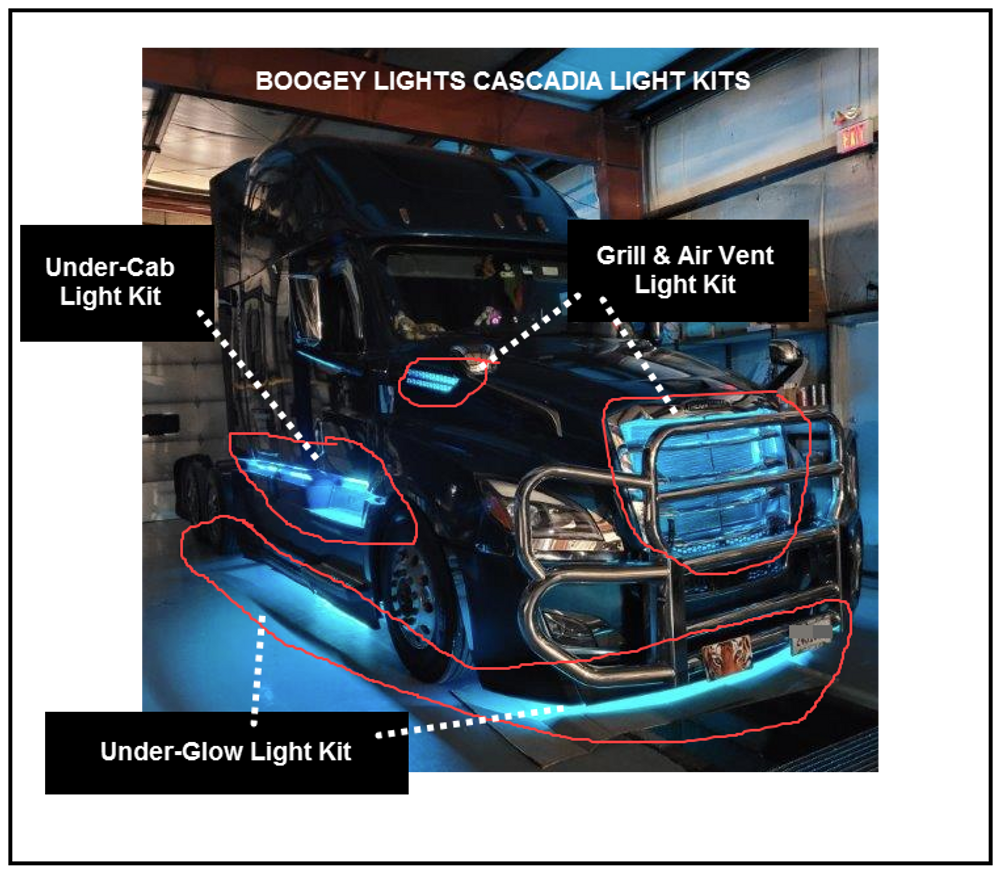 Freightliner Cascadia Grill & Air Vent LED Light Kit