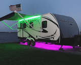 Multi-Color LED Awning Light for RVs, Trailers and Campers.  Shown here with the Under-Glow light kit. Photo submitted by customer.