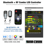 Bluetooth + RF Wireless COMBO Controller for Multi-Color (RGB) LED Lights.  Available in PLUS, SUPER and HEAVY DUTY versions with your choice of RF KEY FOBs or RF M7 Style TV remote.