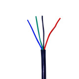 20 AWG 4 Conductor Power Lead Wire in BLACK Jacket.
