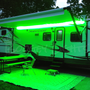 LED Awning Light for RVs, Trailers and Campers.  Shown here in our single color GREEN.