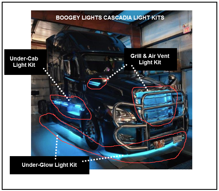 Boogey Lights Freightliner Cascadia LED Light Kits