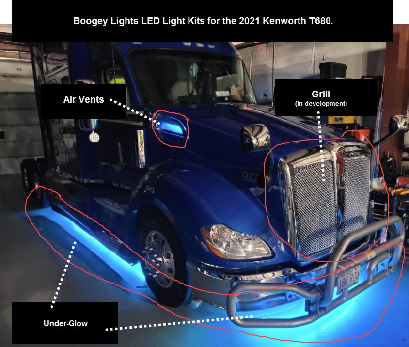 Boogey Lights Kenworth T680 LED Light Kits