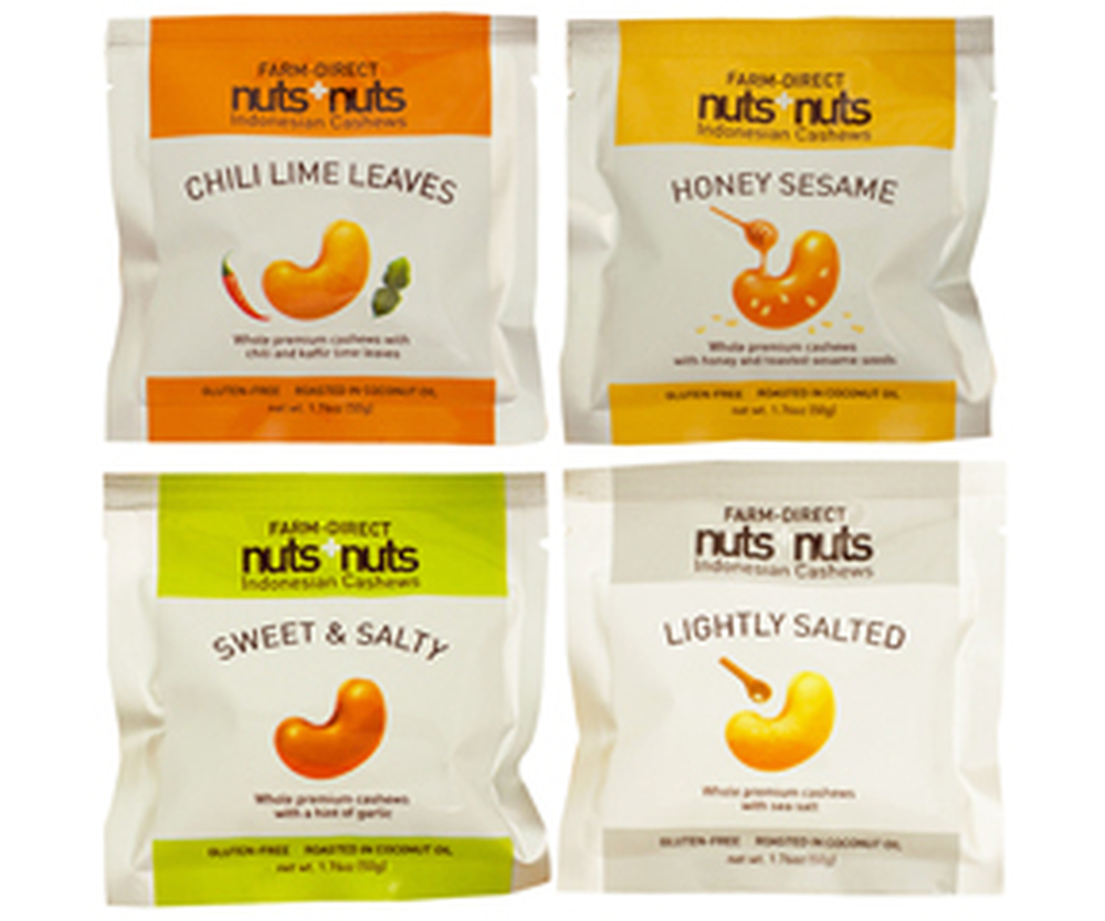 Assorted flavor cashew nuts single serving pack