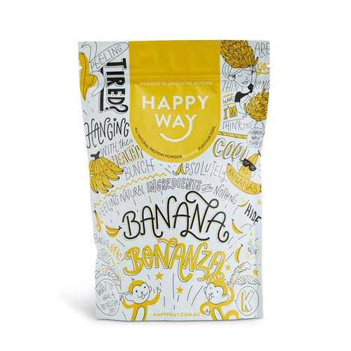 Happy Way Banana Bonanza Whey Protein Powder 500g