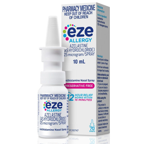 Eze Allergy Antihistamine Nasal Spray 10ml Front of Packaging (Box & Bottle)