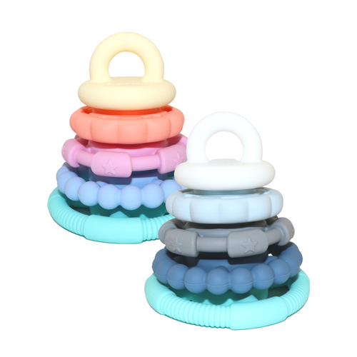 Jellystone Rainbow Stacker & Teether Toys together