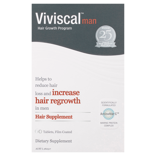 Viviscal Mens Hair Growth Supplements 60t Front of Packaging