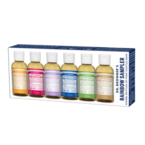 Dr. Bronner's Pure Castile Liquid Soap Rainbow Sampler 6pk