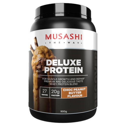 Deluxe Protein Powder Choc Peanut Butter 900g Front of Packaging