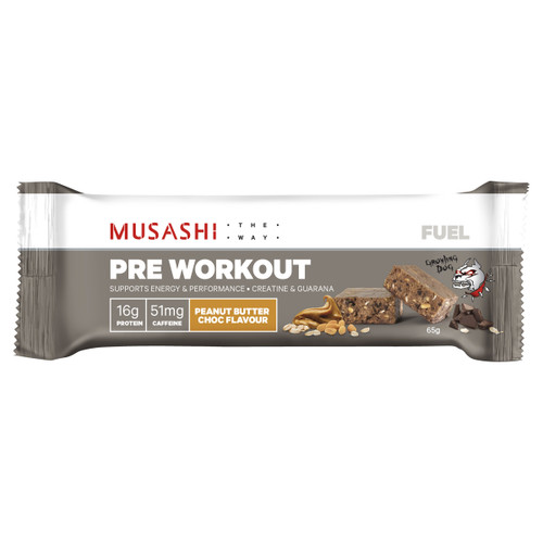 Fuel Pre Workout Bar Peanut Butter Choc 65g Front of Packaging