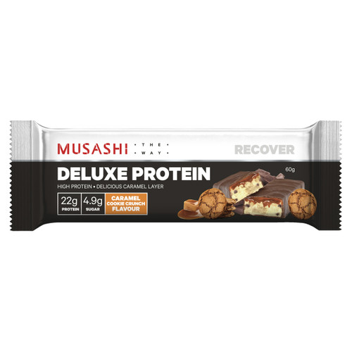 Deluxe Protein Bar Caramel Cookie Crunch 60g  Front of Packaging