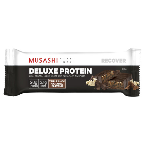 Deluxe Protein Bar Triple Choc Caramel 60g Front of Packaging