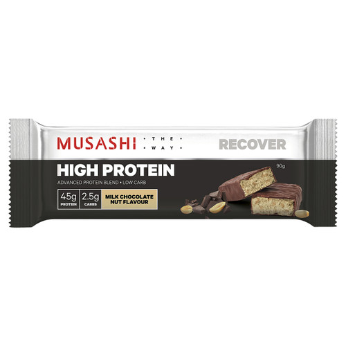 High Protein bar Milk Chocolate Nut 90g Front of Packaging