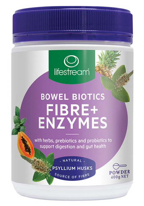 Lifestream Bowel Biotics Fibre + Enzymes 400g Front of Packaging