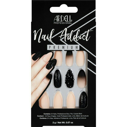 Ardell Nail Addict Premium Artificial Nail Set - Black Stud & Pink Ombre