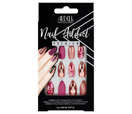 Ardell Nail Addict Premium Artificial Nail Set - Chrome Pink Foil