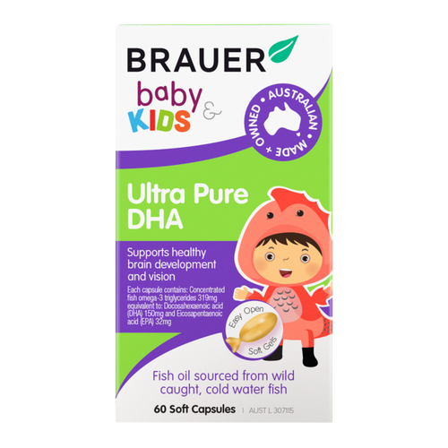 Brauer Baby & Kids Ultra Pure DHA 60 Soft Capsules