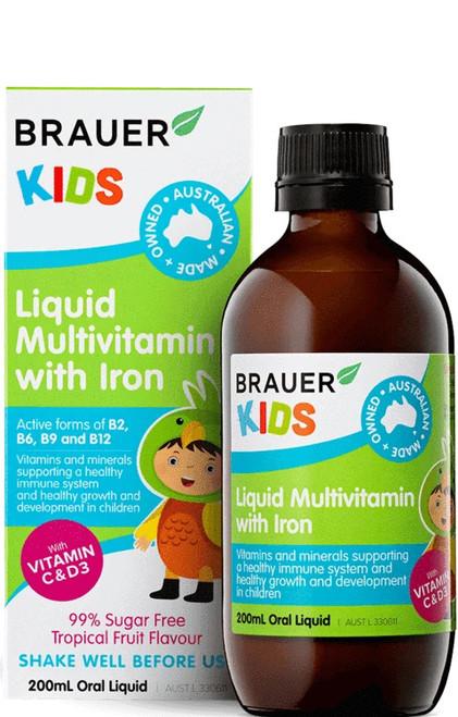 Brauer Kids Liquid Multivitamin with Iron 200ml