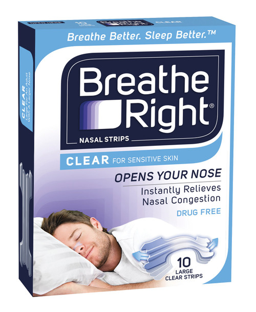 Breathe Right Clear Nasal Strips 10 Pack Large