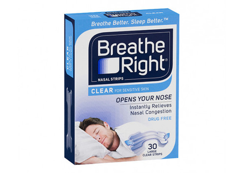 Breathe Right Clear Nasal Strips 30 Pack Large