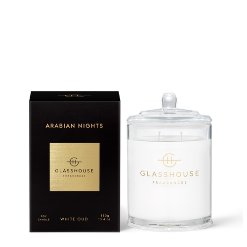 Glasshouse Arabian Nights Soy Candle - White Oud 380g