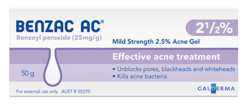 Benzac AC Mild Strength 2.5% Acne Gel 60g