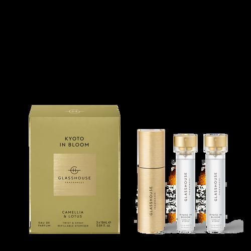 Glasshouse Fragrances Kyoto In Bloom Eau De Parfum Twist & Spray Refillable Atomiser Trio Camellia & Lotus 3x19ml