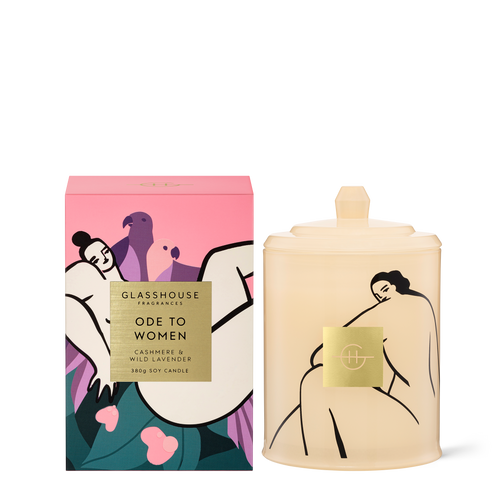 Glasshouse Fragrances Ode To Women Soy Candle Cashmere & Wild Lavender 380g