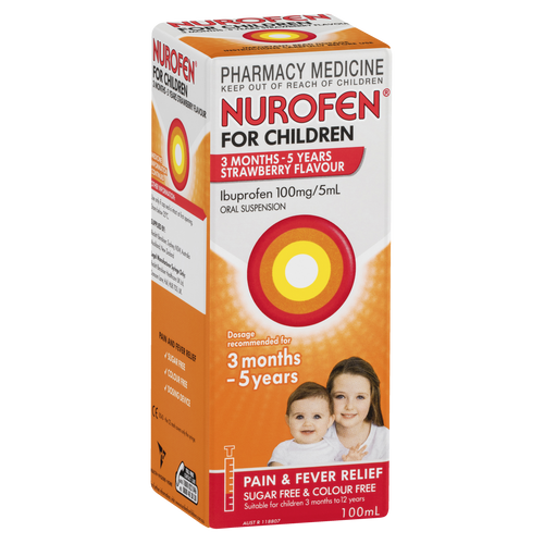 Nurofen For Children 3months - 5years Pain and Fever Relief  Strawberry 100mL