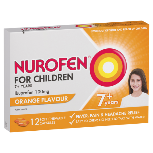 Nurofen For Children 7+ Pain and Fever Relief Chewable Capsules Orange 12 pack