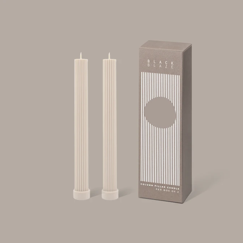 Column Pillar Candle Duo Cream White