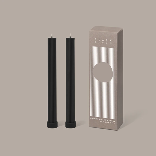 Column Pillar Candle Duo Black