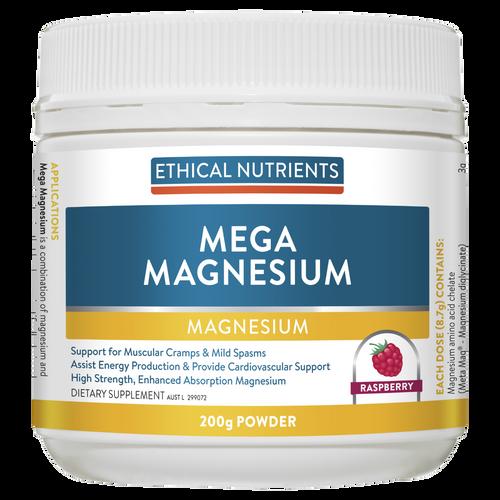 Ethical Nutrients Mega Magnesium Powder 200g Raspberry