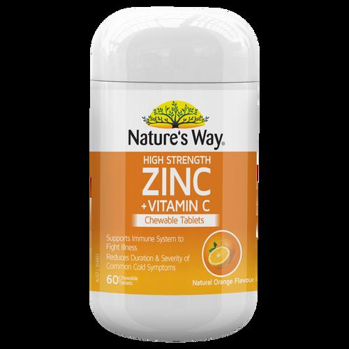 High Strength Zinc + Vitamin C Chewable 60 Tablets