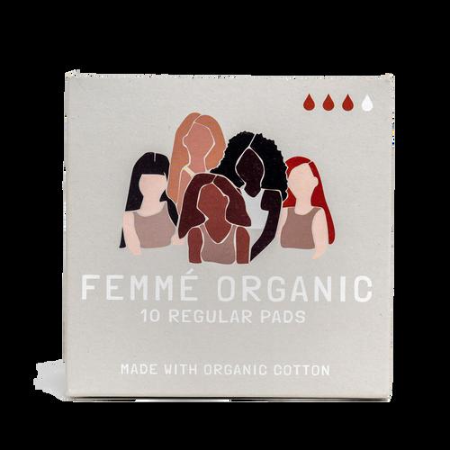 Femme Organic Regular Cotton Pads 10 Pack