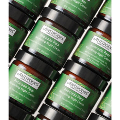 Antipodes Avocado Pear Nourishing Night Cream 60ml product texture bottles stacked on top of each other