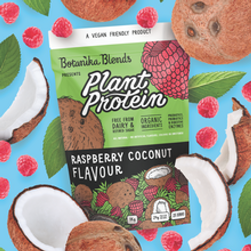Botanika Blends Plant Protein Raspberry Coconut 40g packet with graphic background