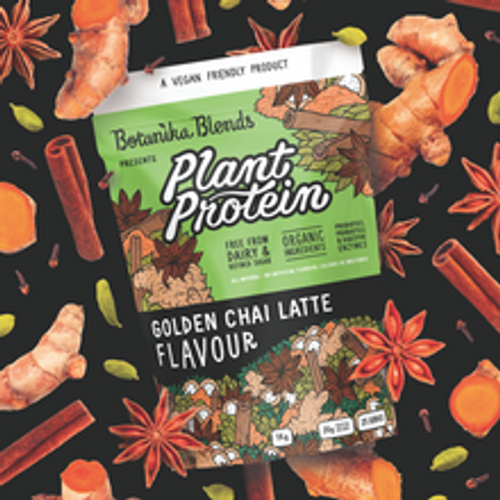 Botanika Blends Plant Protein Golden Chai Latte 40g with graphic background