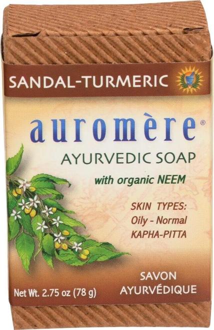 Auromere Sandal-Turmeric Ayurvedic Soap with Neem 78g