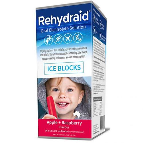 Rehydraid Oral Electrolyte Ice Blocks 16 Pack - Apple Raspberry