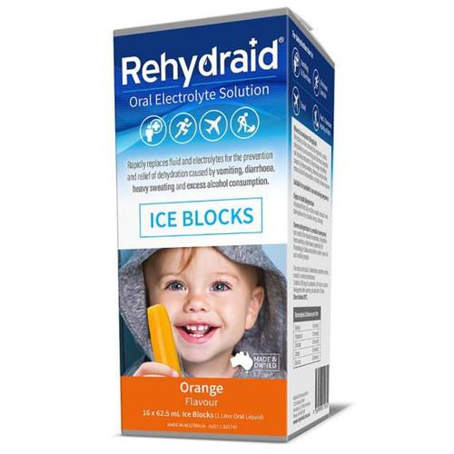 Rehydraid Oral Electrolyte Ice Blocks 16 Pack - Orange