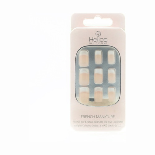 Helios French Manicure Long Pink 24 Pack