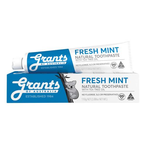 Grants of Australia Fresh Mint Natural Toothpaste - Fluoride Free 110g