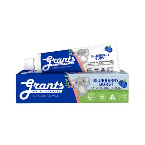 Grants of Australia Blueberry Burst Kids Natural Toothpaste - Fluoride Free 75g