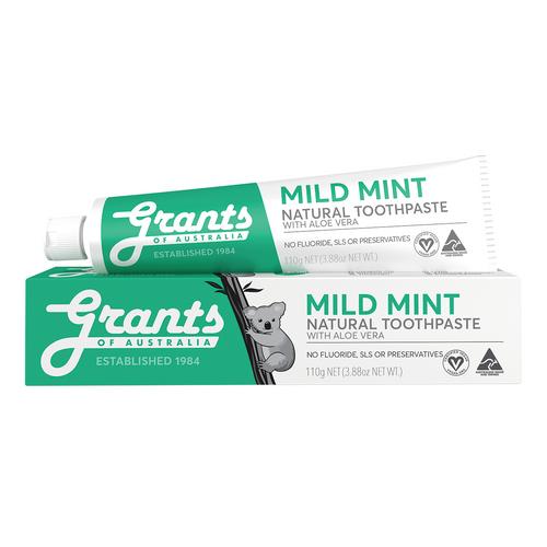 Grants of Australia Mild Mint Natural Toothpaste - Fluoride Free 110g