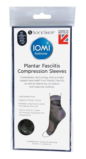 Aussie Sock Shop IOMI Plantar Fasciitis Compression Sleeves Black Size S/M