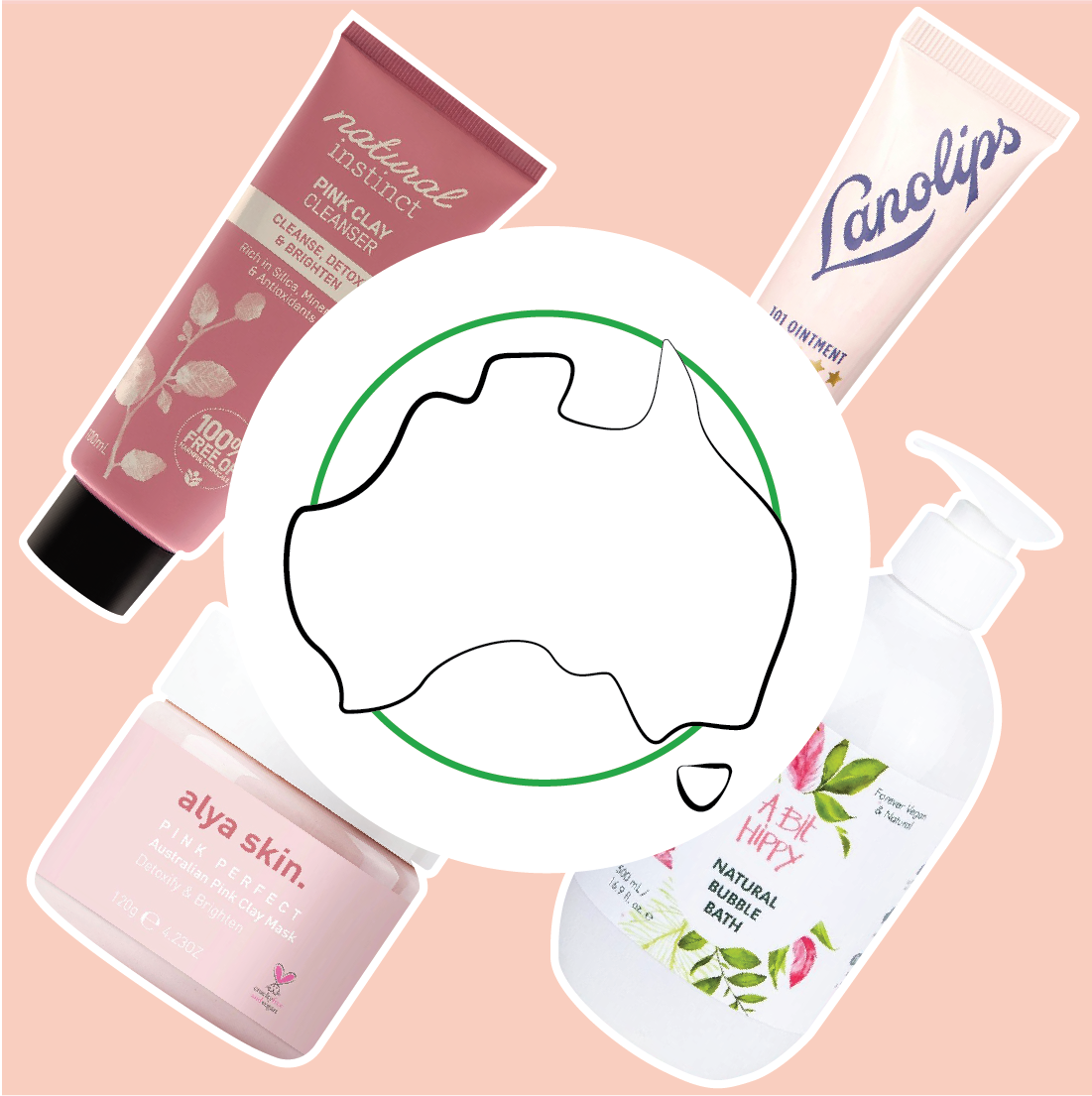 Australian Made icon overlapping four Australian made products stocked online by The Pharmacy Network